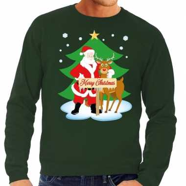 Foute kerstkersttrui kerstman en rendier rudolf groen heren