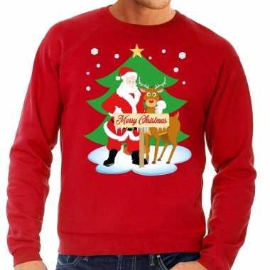Foute kerstkersttrui kerstman en rendier rudolf rood heren