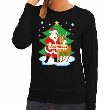 Foute kerstkersttrui kerstman en rendier rudolf zwart dames