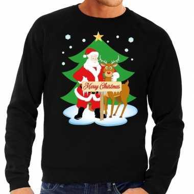 Foute kerstkersttrui kerstman en rendier rudolf zwart heren
