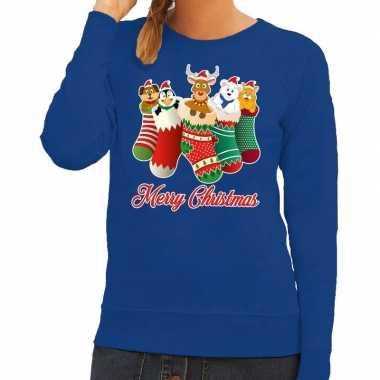 Foute kerstkersttrui kerstsokken merry christmas blauw voor dames