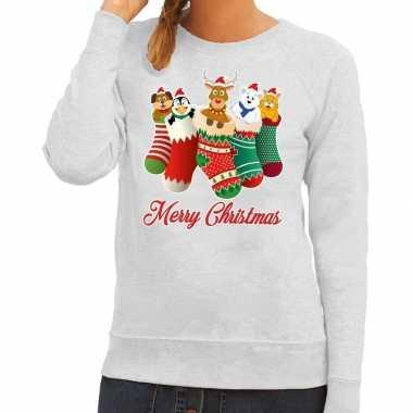 Foute kerstkersttrui kerstsokken merry christmas grijs voor dames