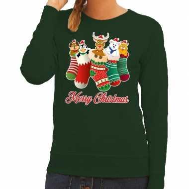 Foute kerstkersttrui kerstsokken merry christmas groen voor dames