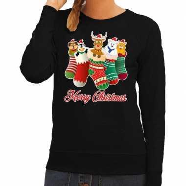 Foute kerstkersttrui kerstsokken merry christmas zwart voor dames