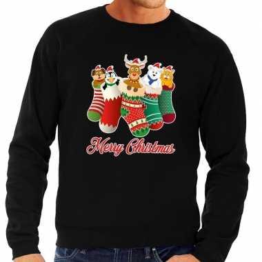 Foute kerstkersttrui kerstsokken merry christmas zwart voor heren