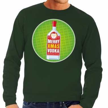 Foute kerstkersttrui merry christmas vodka groen heren