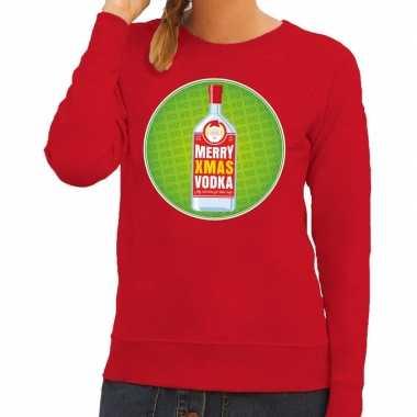 Foute kerstkersttrui merry christmas vodka rood dames