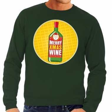 Foute kerstkersttrui merry christmas wine groen heren