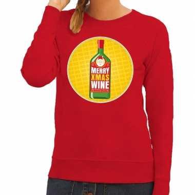 Foute kerstkersttrui merry christmas wine rood dames