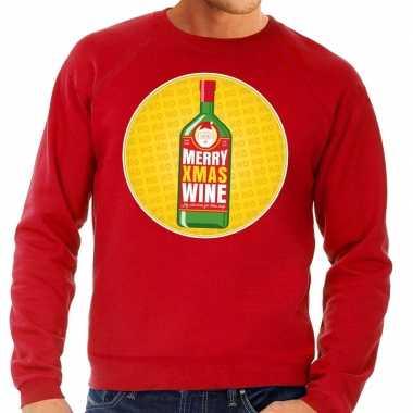 Foute kerstkersttrui merry christmas wine rood heren