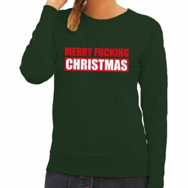 Foute kerstkersttrui merry fucking christmas groen voor dames