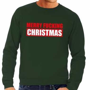 Foute kerstkersttrui merry fucking christmas groen voor heren