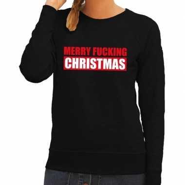 Foute kerstkersttrui merry fucking christmas zwart voor dames