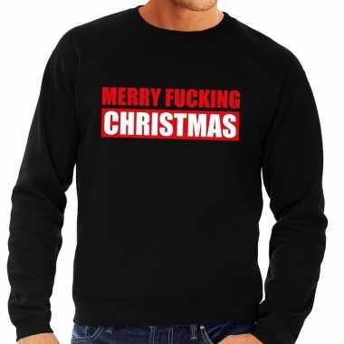 Foute kerstkersttrui merry fucking christmas zwart voor heren