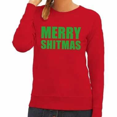 Foute kerstkersttrui merry shitmas rood voor dames