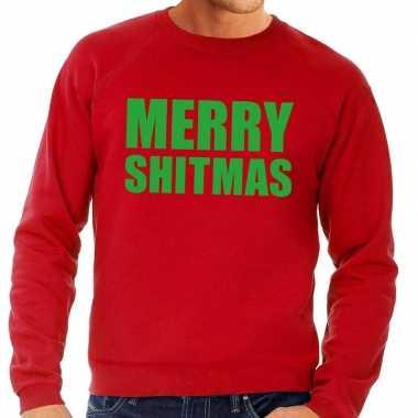 Foute kerstkersttrui merry shitmas rood voor heren