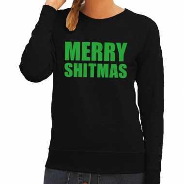 Foute kerstkersttrui merry shitmas zwart voor dames