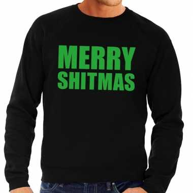 Foute kerstkersttrui merry shitmas zwart voor heren