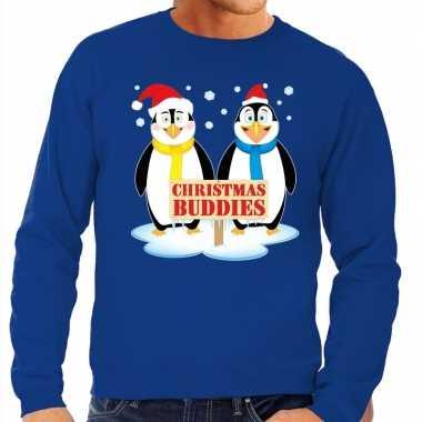 Foute kerstkersttrui pinguin vriendjes blauw heren