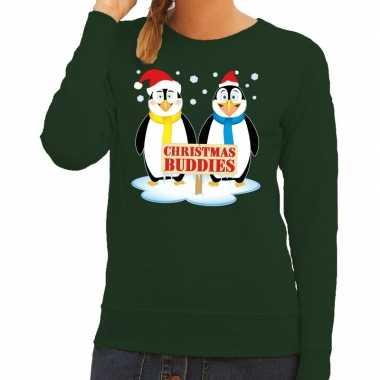 Foute kerstkersttrui pinguin vriendjes groen dames