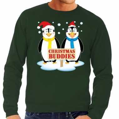 Foute kerstkersttrui pinguin vriendjes groen heren
