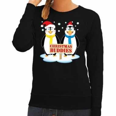 Foute kerstkersttrui pinguin vriendjes zwart dames