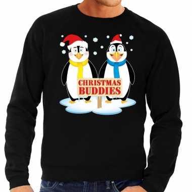 Foute kerstkersttrui pinguin vriendjes zwart heren