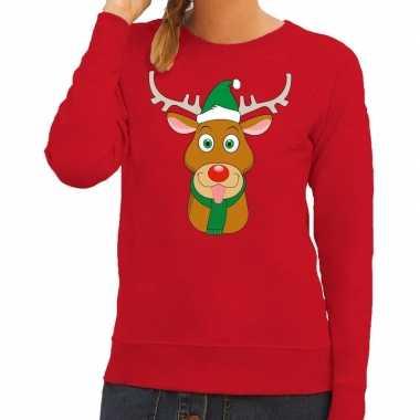 Foute kerstkersttrui rendier rudolf met groene kerstmuts rood dames