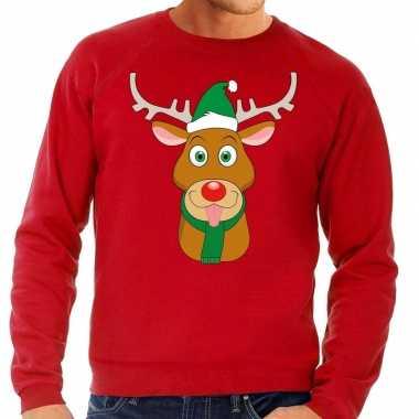 Foute kerstkersttrui rendier rudolf met groene kerstmuts rood heren