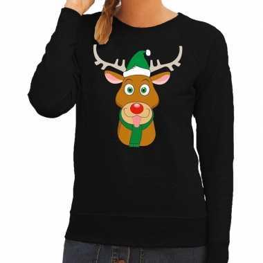 Foute kerstkersttrui rendier rudolf met groene kerstmuts zwart dames