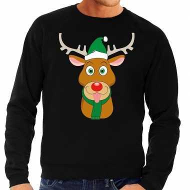 Foute kerstkersttrui rendier rudolf met groene kerstmuts zwart heren
