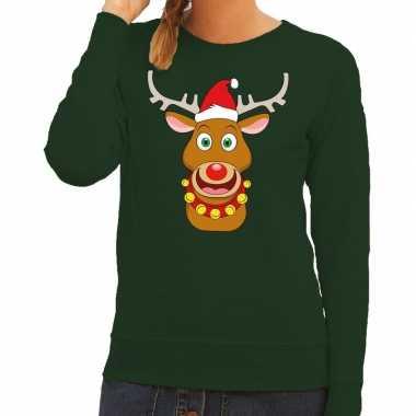 Foute kerstkersttrui rendier rudolf met rode kerstmuts groen dames