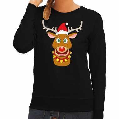 Foute kerstkersttrui rendier rudolf met rode kerstmuts zwart dames