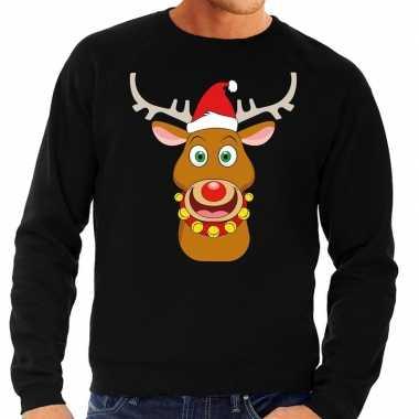 Foute kerstkersttrui rendier rudolf met rode kerstmuts zwart heren