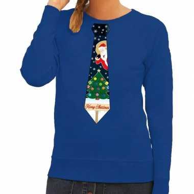 Foute kerstkersttrui stropdas met kerst print blauw voor dames