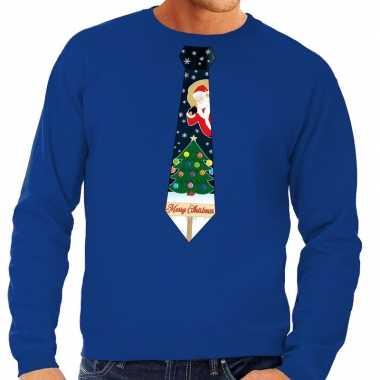 Foute kerstkersttrui stropdas met kerst print blauw voor heren