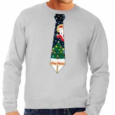 Foute kerstkersttrui stropdas met kerst print grijs voor heren