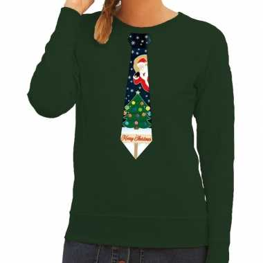 Foute kerstkersttrui stropdas met kerst print groen voor dames