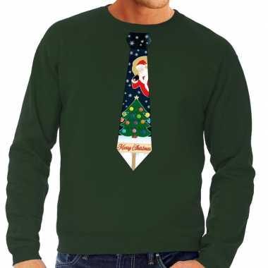 Foute kerstkersttrui stropdas met kerst print groen voor heren