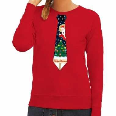 Foute kerstkersttrui stropdas met kerst print rood voor dames