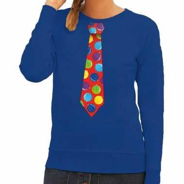 Foute kerstkersttrui stropdas met kerstballen print blauw voor dames