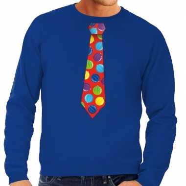 Foute kerstkersttrui stropdas met kerstballen print blauw voor heren