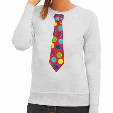 Foute kerstkersttrui stropdas met kerstballen print grijs voor dames
