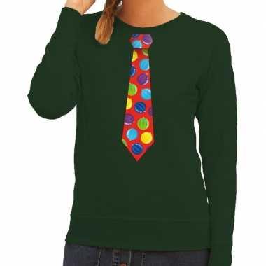 Foute kerstkersttrui stropdas met kerstballen print groen voor dames