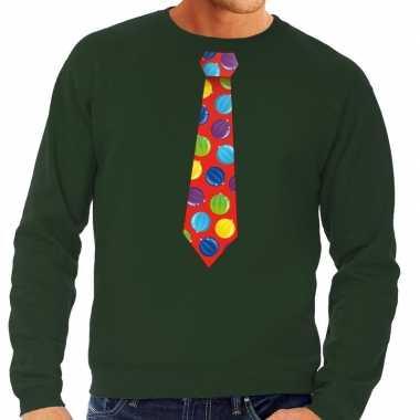 Foute kerstkersttrui stropdas met kerstballen print groen voor heren