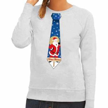 Foute kerstkersttrui stropdas met kerstman print grijs voor dames
