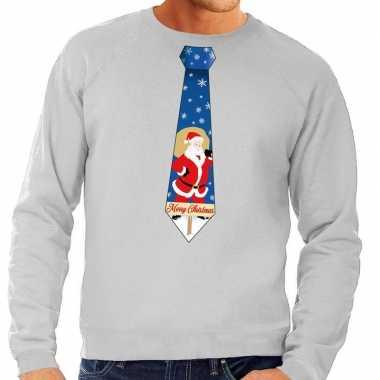 Foute kerstkersttrui stropdas met kerstman print grijs voor heren