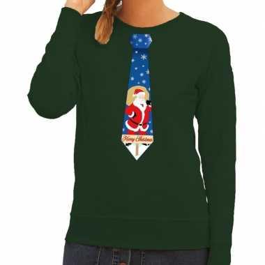 Foute kerstkersttrui stropdas met kerstman print groen voor dames