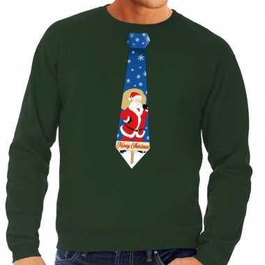Foute kerstkersttrui stropdas met kerstman print groen voor heren