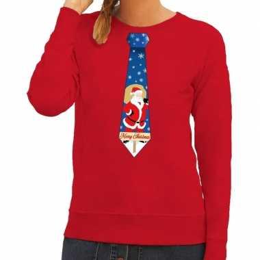 Foute kerstkersttrui stropdas met kerstman print rood voor dames